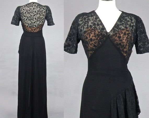 Vintage 1940s Black Rayon Crepe Illusion Lace Evening Dress, 40s Dress, Old Hollywood Glamour Evening Gown S/M - M