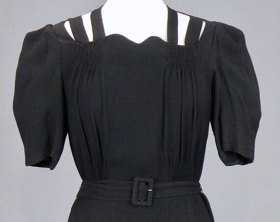 Vintage 1940s Black Crepe Hourglass Dress with Cutout Shoulder Straps, Medium