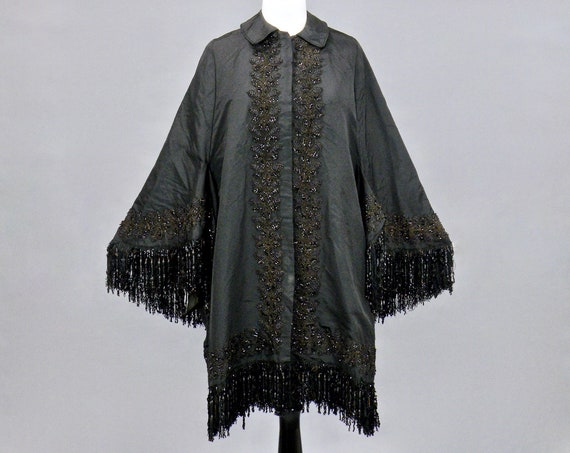 1870s 1880s Victorian Beaded Dolman Sleeve Mantel Cape Evening Cloak, Near Excellent