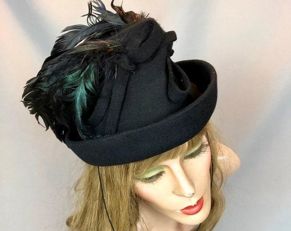 Vintage 1940s Black Felt Raven Feather Hat, 40s Tilt Top Hat, Roberts