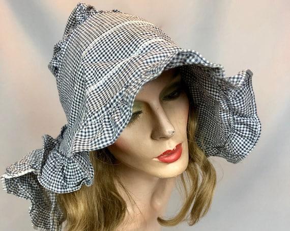 Antique 1870s Gingham Sunbonnet, Victorian Cotton Prairie Bonnet Sun Farmworker Hat