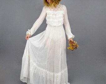 1900s Gibson Girl Dress, Antique White Cotton Swiss Dot Lace Edwardian Dress, 2pc Edwardian Blouse and Trained Skirt