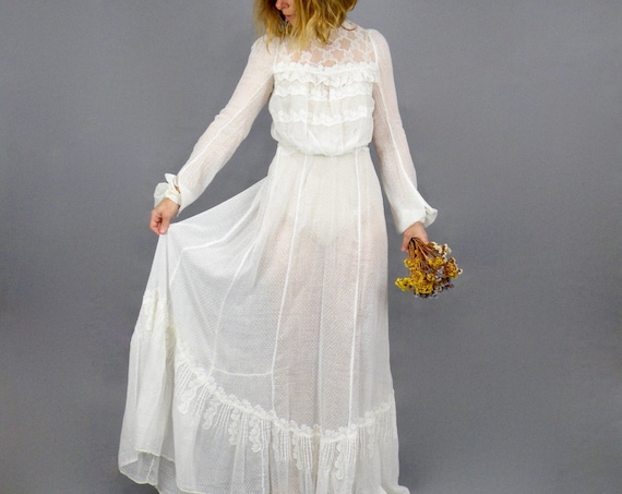 Antique 1900s Edwardian White Cotton Swiss Dot Gibson Girl Dress, 2pc Edwardian Blouse and Trained Skirt