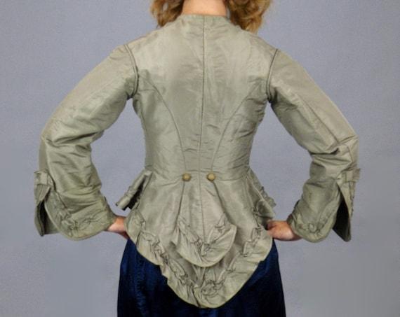 Antique 1870s Victorian Taupe Silk Peplum Bodice Jacket, XXS - XS