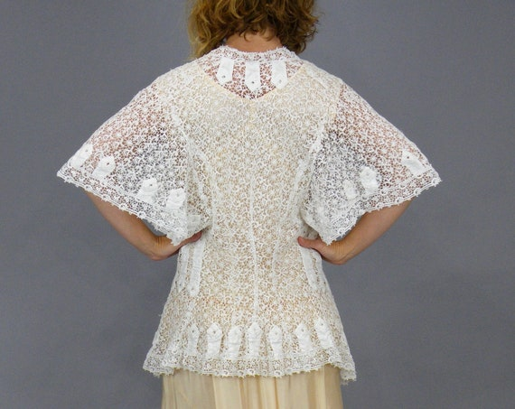 Antique 1900s White Schiffli Lace Embroidered Linen Edwardian Jacket