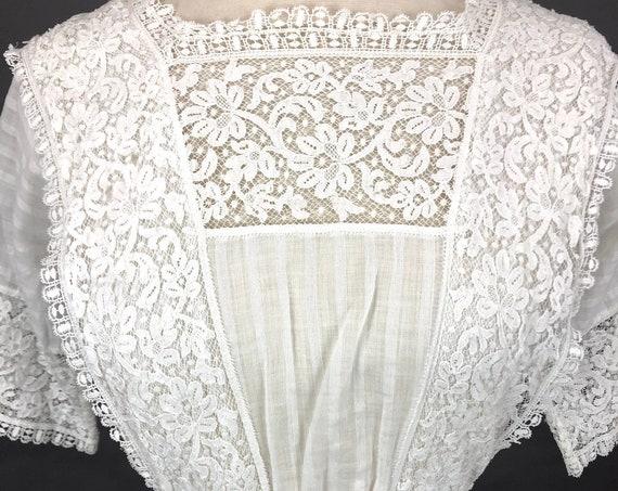 Antique 1910s White Cotton Lace Edwardian Tea Dress, XXS