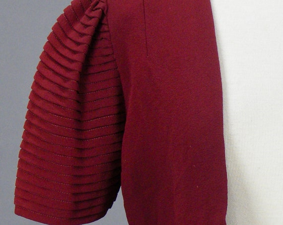 Vintage 1930s 40s Merlot Rayon Crepe Capelet with Tiered Sleeves