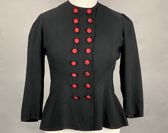 Vintage 1930s 40s Art Deco Gabardine Jacket with Red Double Breasted Closures, Fit and Flare 1940s Blazer Jacket, Large