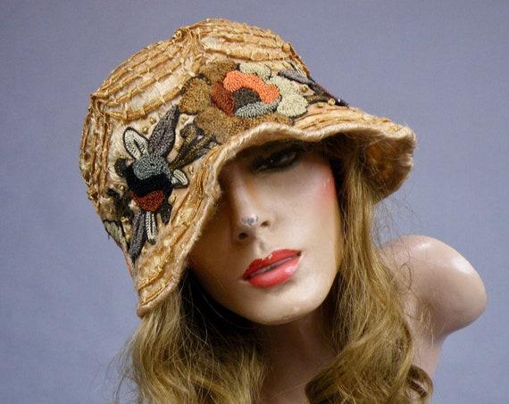 Vintage 1920's Embroidered Cloche Hat, Antique Flapper Hat, Rosebird New York Paris