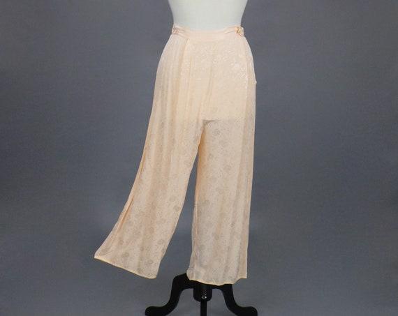 "Vintage 1930s 40s Pink Damask Pajama Pants, 30s Wide Leg Lounge Pants, 27"" Waist"