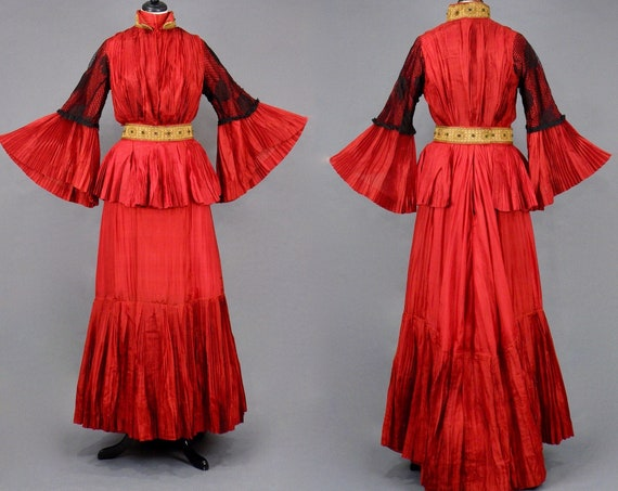 1900s Victorian Red Silk Dress Dramatic Pleated Bell Sleeves & Egyptian Belt, 4pc Antique Gibson Girl Dress, Turn of the Century M - M/L