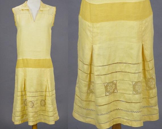 Antique 1920s Yellow Linen Cutwork Lace Drop Waist Dress