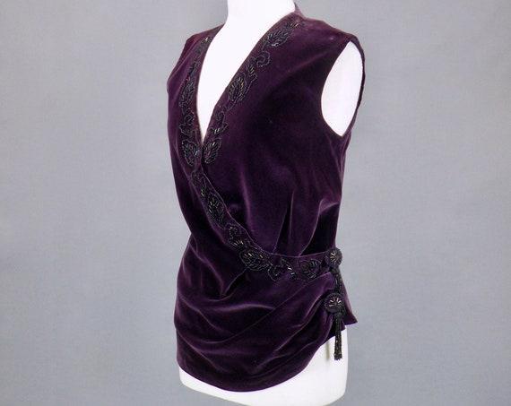 Vintage 1920s 30s Beaded Purple Velvet Evening Top Blouse, Small - Medium