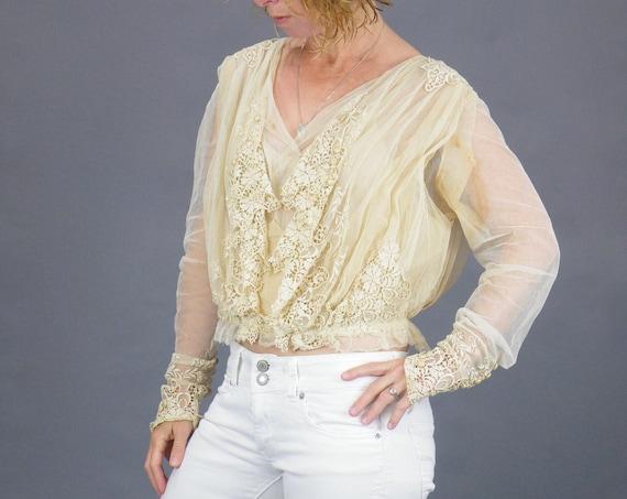 1900s Edwardian Embroidered Net Lace Blouse, Cream Antique Lace Blouse, Medium
