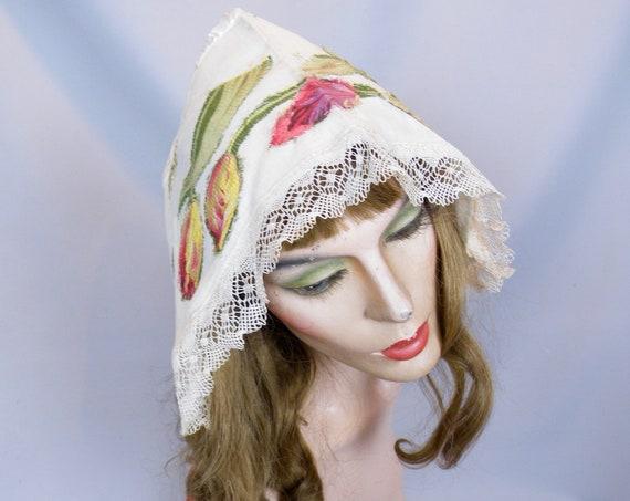 Antique Dutch Lace Trim Embroidered Summer Bonnet, Victorian Edwardian Ladies Sun Bonnet Hat