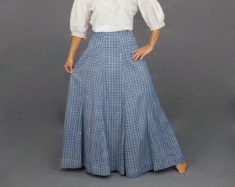 Edwardian Skirt, Antique 1910s Indigo Blue Cotton Check Skirt, 24 Waist