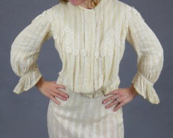 1900s Gibson Girl Dress, Antique Edwardian Lace Appliqué Striped Linen Blouse and Skirt Set, XS - S