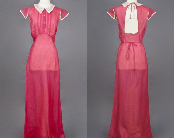 Vintage 1930s Dress, 30s Raspberry Cotton Dress, Sheer Bias Cut Day Dress with Dotted Peter Pan Collar & Open Back