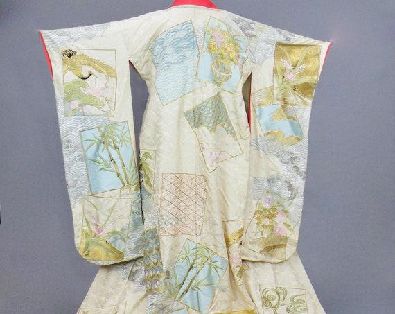 Vintage Japanese Uchikake Wedding Kimono with Metallic Gold Silver Embroidered Cranes and Pastel Flowers, 1930s Ceremonial Bridal Coat
