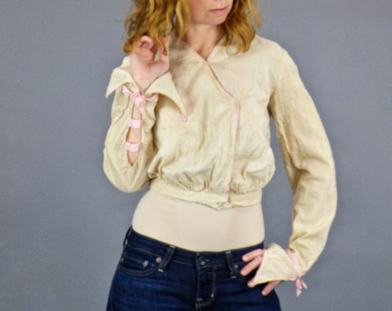 Antique Edwardian Blouse, 1900s Embroidered Style Cropped Blouse with Pink Silk Ribbon Sleeve Detail
