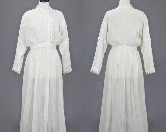 Edwardian Dress, 1900s 1910s Cotton Lawn Dress, Antique Lace Trim Striped Cotton Afternoon Dress Medium