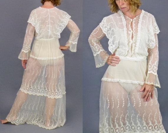 Antique Edwardian Net Lace Dress, 1910s Floral Embroidered Net Mixed Lace Dress, Vintage Wedding Dress, XS