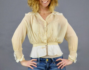 1910s Edwardian Blouse, Antique Valenciennes Lace Trimmed Embroidered Silk Chiffon Blouse