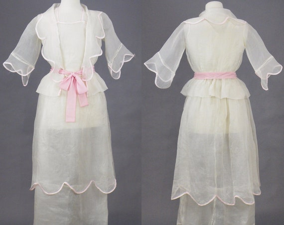 Edwardian Dress, Antique 1910s Dress, White Organdy Tiered Skirt and Blouse