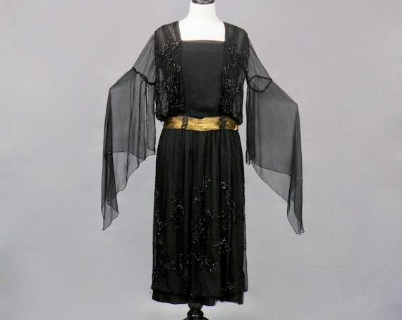Antique Late 1910s 1920s B. Altman Beaded Flapper Dress, Sorceress Angel Wing Sleeve Jazz Age Dress with Gold Lamé, S - S/M