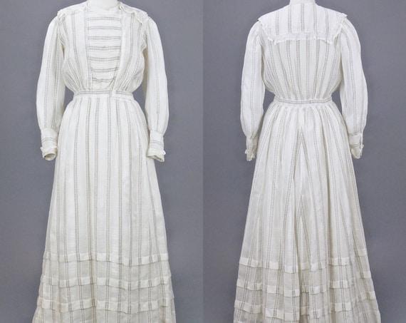 Edwardian Dress, 1900s White Dress, Lace Trim Striped Sheer Cotton Antique Lawn Dress, Medium