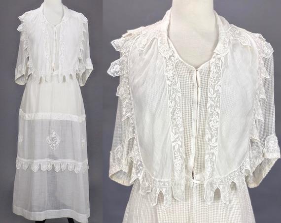 "Edwardian Embroidered Dress, Antique 1910s Sheer White Cotton Lingerie Dress, Medium 28"" Waist"