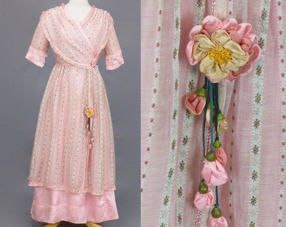 Antique 1900s 1910s Pink Dress, Edwardian Sheer Pink Fancy Weave Embroidered Pink Gown with Silk Ribbon Flowers, Braid and Fringe