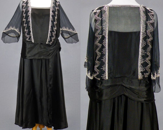 Antique Late 1910s Sheer Beaded Silk Dress, Large - XL