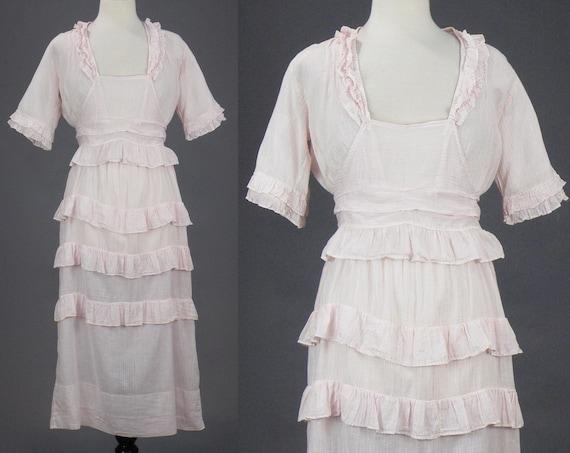 Antique 1910s Pink Striped Cotton Dress, Late Edwardian Day Dress, Medium