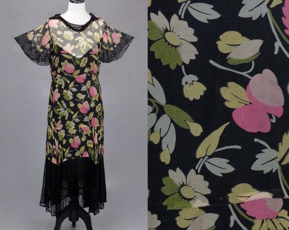 Vintage 1930s Floral Dress, Lace Trim Flutter Sleeve Sheer 30s Gown, Medium - Large