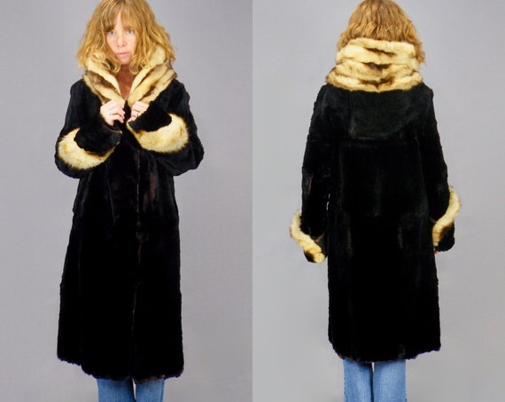 Vintage 1920s Long Fur Coat, Art Deco 20s Sheared Beaver Fur Coat with Fitch Fur Trim Collar and Cuffs
