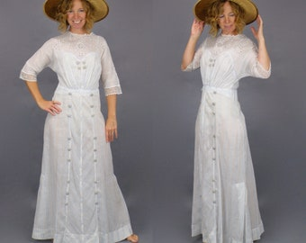 Antique Edwardian Dress, 1910s Blue Striped Embroidered Cotton Eyelet Tea Dress, 27 Waist