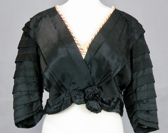 Antique Victorian Black Silk Charmeuse Blouse with Ribbon Net Trim, Victorian Bodice with Fabric Rosettes, 42 Bust