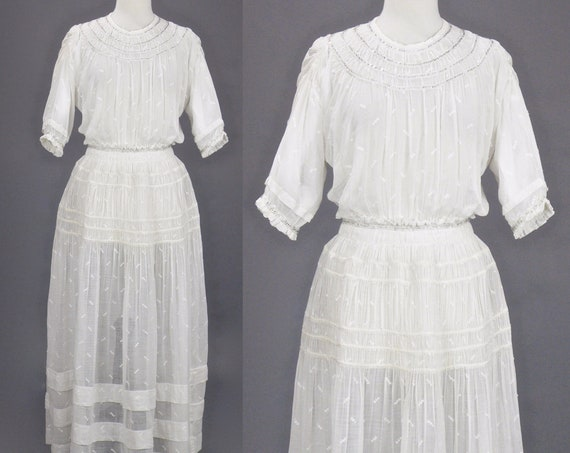 Edwardian Beaded White Cotton Dress, Antique 1900s 1910s Ruched Dress, Edwardian Wedding, Small - Medium