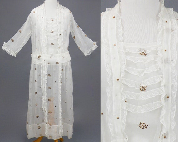 Antique Late 1910s Early 1920s Heart Embroidered Sheer Organdy Dress, L - XL