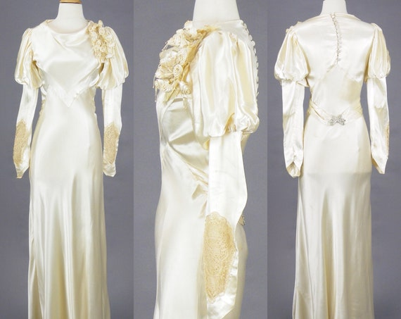 Vintage 1930s Ivory Satin Bias Cut Wedding Gown, Art Deco Bridal Dress with Butterfly Clasp Belt