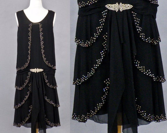 Vintage 1920s Dress, 20s Flapper Dress, Tiered Black Georgette and Rhinestone Art Deco Dress with Clasp Belt