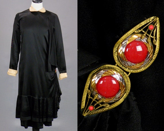 Vintage 1920s Wrap Dress with Red Belt Clasp, Peter Pan Collar Jazz Age Black Satin Art Deco Dress with Pleated Skirt Swag, Small