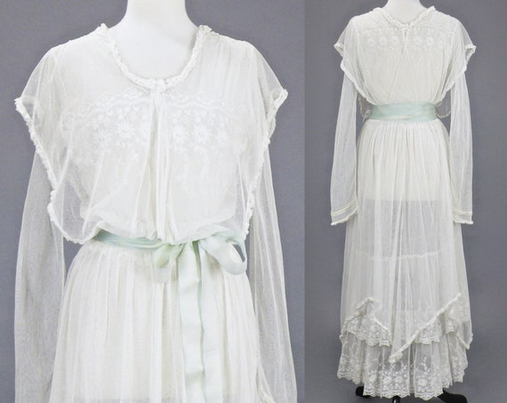 Edwardian 1910s Antique White Net Lace Tiered Embroidered Gown, Medium 28 Waist