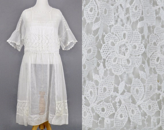 1910s 1920s White Lawn Dress, Edwardian Organdy Crochet Dress, Large