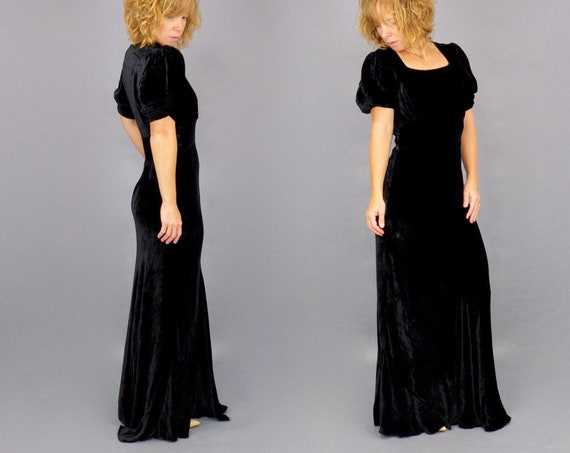 Vintage 1930s Black Silk Velvet Bias Cut Evening Gown with Short Puff Sleeves, XS - S