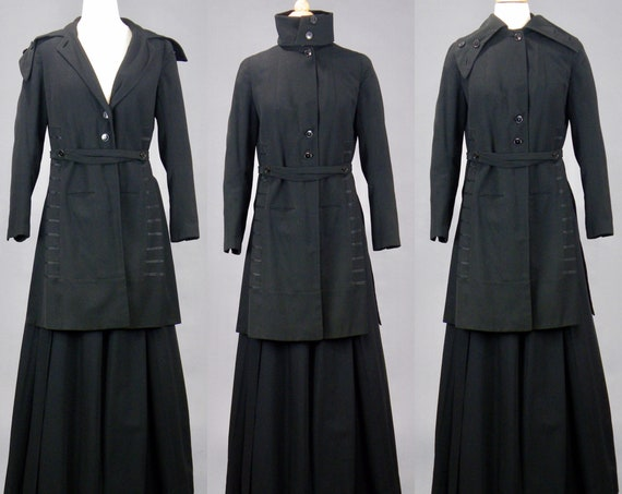Edwardian Walking Suit, Antique 1910s Black Wool Skirt and Jacket, Near Mint