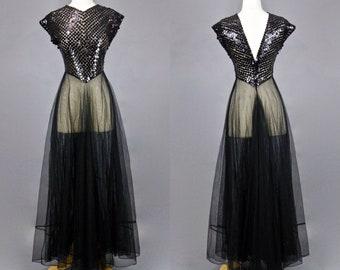 03ba42e3cc6 Vintage 1930s Black Sequin and Net Gown