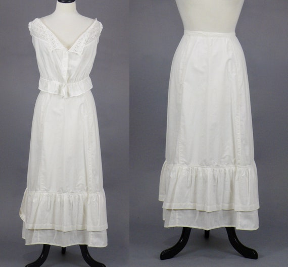 Edwardian Skirt, Antique 1910s White Cotton Petticoat, Tiered Boho Skirt, Medium