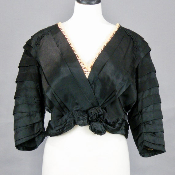 Antique Victorian Black Silk Charmeuse Blouse with